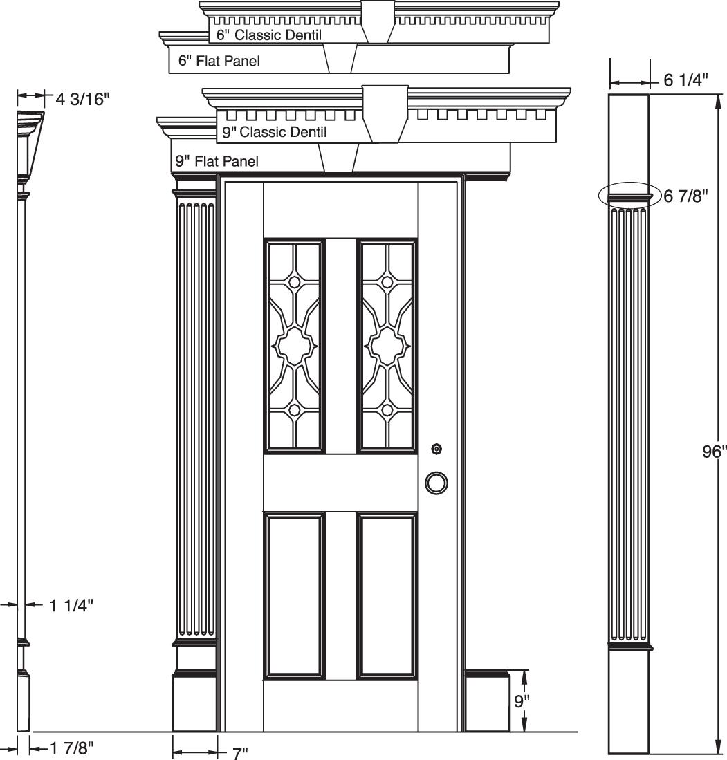 Mid america vinyl siding entry garage door surround for Exterior door pediment and pilasters